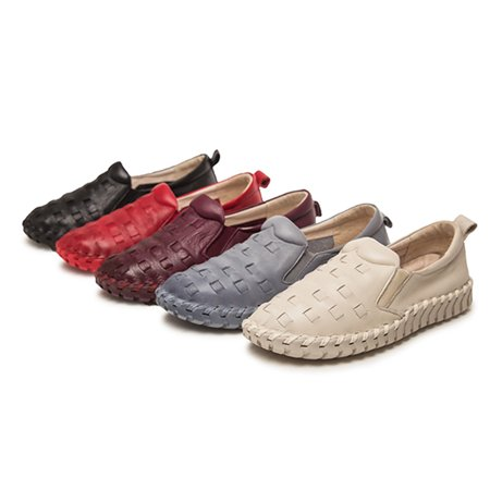 Meigar Women's Causal Leather Loafers Slip-ons Anti-skid Boat Walking Shoes ()