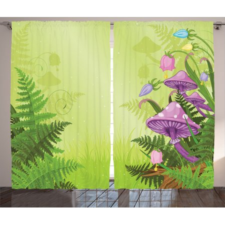 Mushroom Decor Curtains 2 Panels Set, Magic Landscape With Mushrooms And Flowers In The Fresh Forest Ferns Cartoon Print, Living Room Bedroom Accessories, By