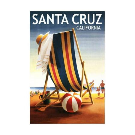 santa cruz california beach chair and ball print by lantern press