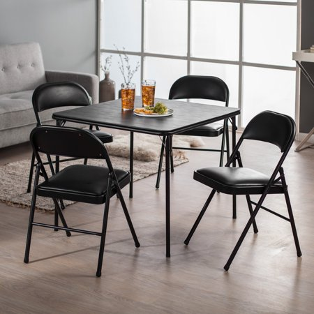 Meco Sudden Comfort Deluxe Double Padded Chair And Back  5 Piece Card Table Set   Black