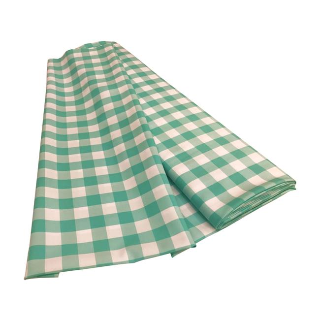 LA Linen CheckBolt-5Yrd-MintK44 5 Yards Gingham Checkered Flat Fold, White & Mint
