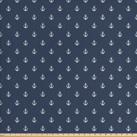 Navy Blue Fabric by The Yard, Nautical Classical Pattern with White Little Anchor Sea Travel Cruise, Decorative Fabric for Upholstery and Home Accents, by Ambesonne