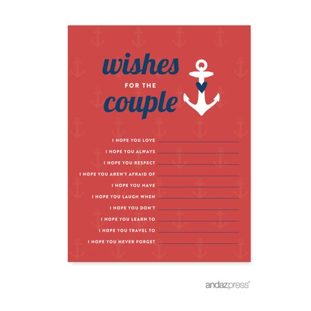 Newlywed Advice Cards  Nautical Ocean Adventure Wedding Cards Guest Book Alternative, 20-Pack