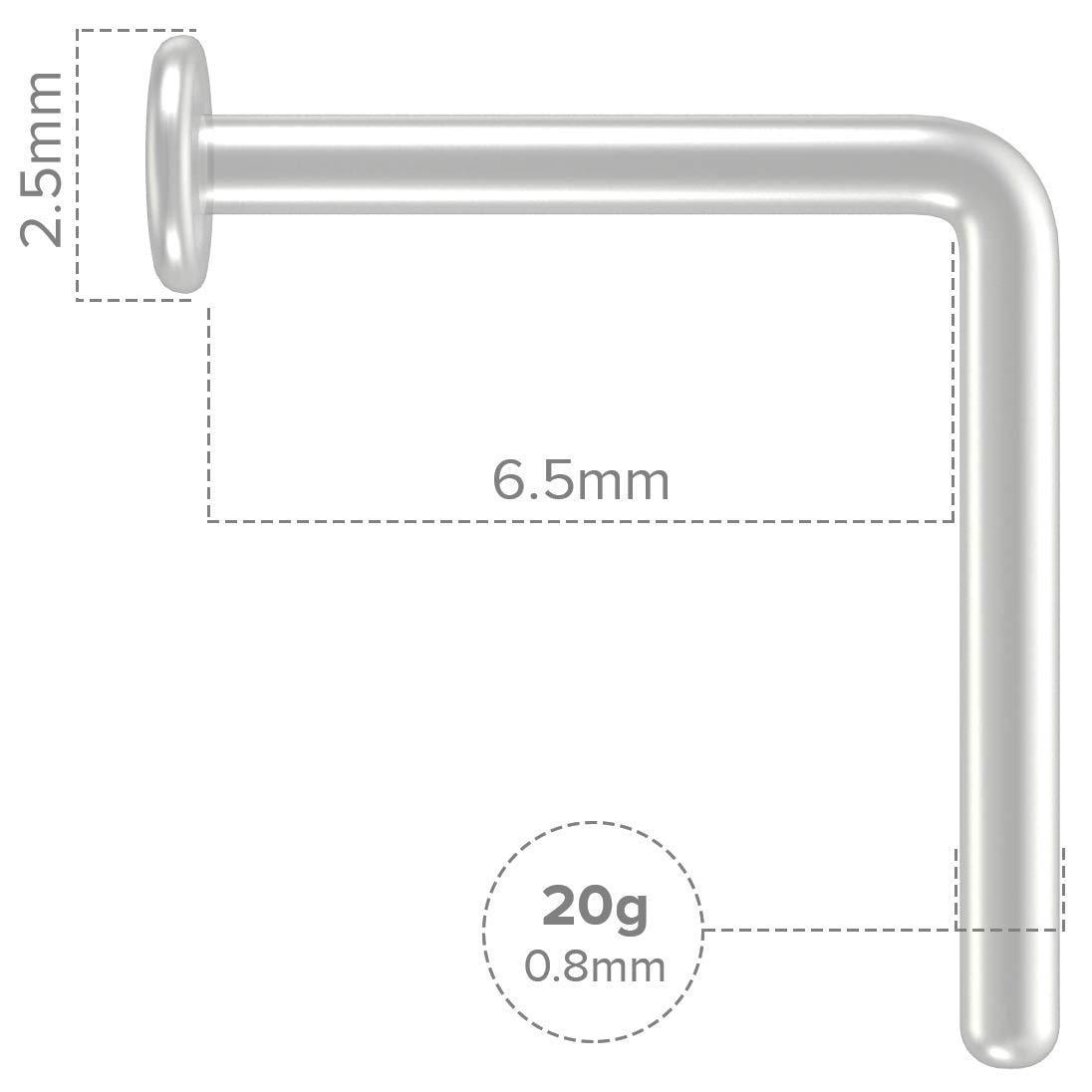 Bling Unique 6pc 20g Nose Piercing Jewelry Clear Retainer Bioflex Flexible Bendable Nostril L-Shaped Screw Stud
