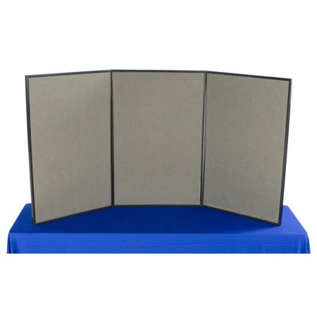 3-Panel Tabletop Exhibition Board, 72 x 36, Carrying Case Included - Gray Hook & Loop-Receptive Fabric and Write-on Whiteboard (3PV7236GRY)