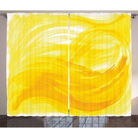 Yellow And White Curtains 2 Panels Set  Painting Style Brushstroke Twist Abstract Artistic Monochrome Wave  Window Drapes For Living Room Bedroom  108W X 90L Inches  Yellow Marigold  By Ambesonne