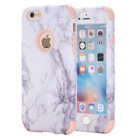 iPhone 6S Case, iPhone 6 Case, White Marble Stone Pattern Shockproof 2in1 Dual Layer