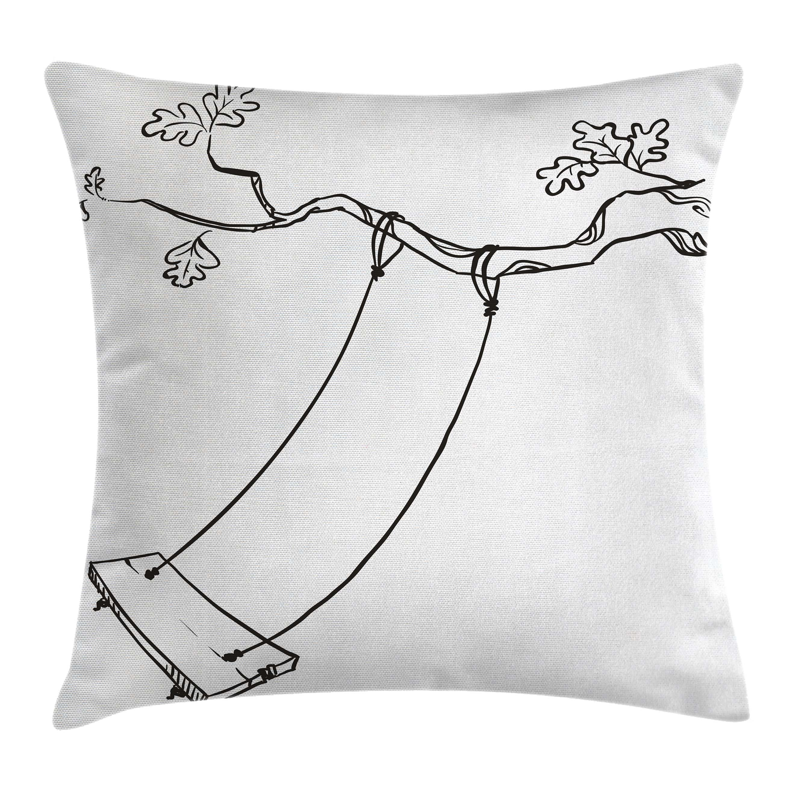 Outdoor Throw Pillow Cushion Cover, Sketchy Leaves Tree Branch with a Swing and Word of Joy Garden Park Play Childhood, Decorative Square Accent Pillow Case, 20 X 20 Inches, Black White, by Ambesonne