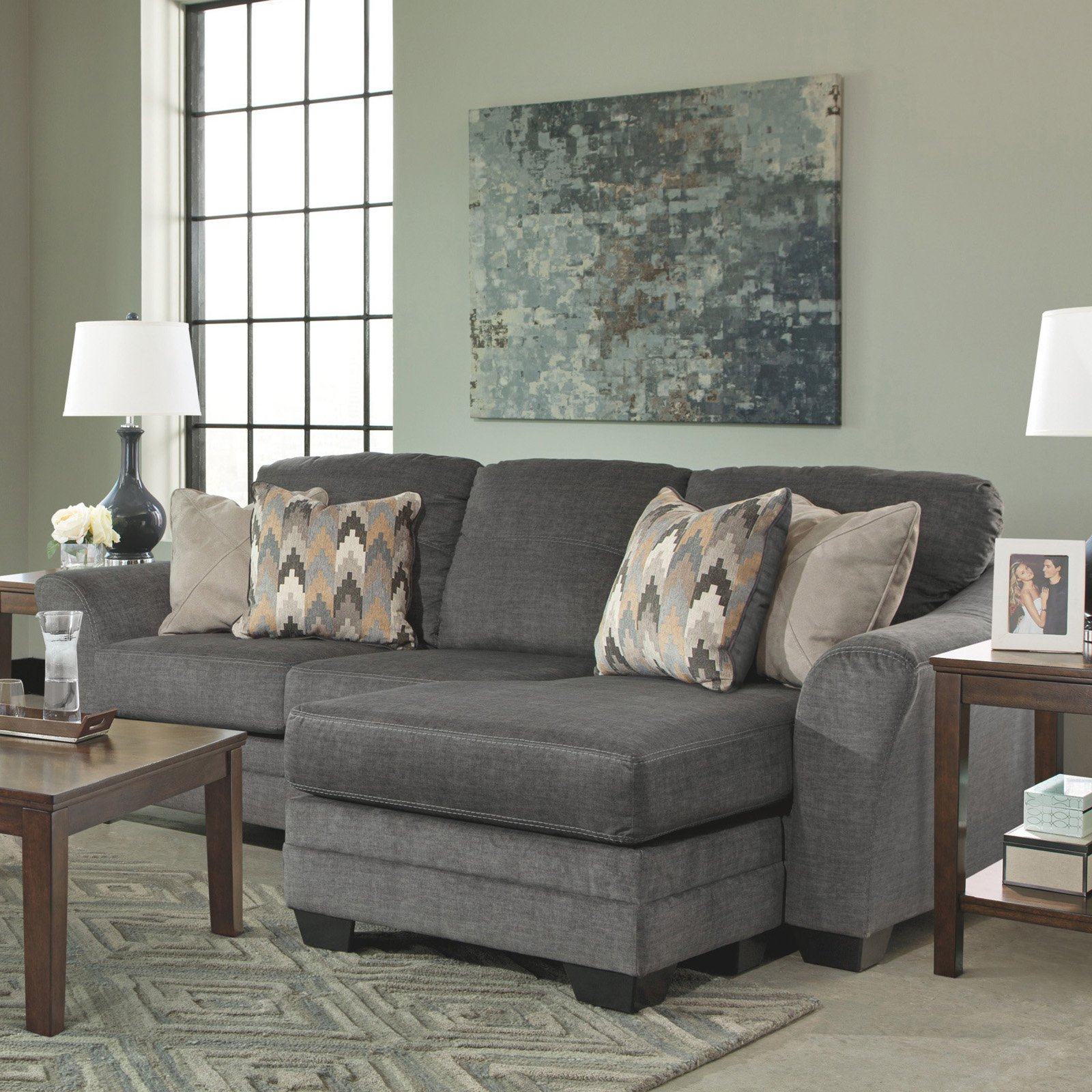 Benchcraft Braxlin Charcoal Chaise Sofa Reviews Baci