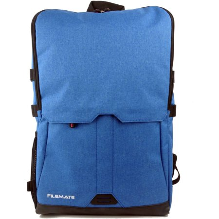 "FileMate Contempo Padded RFID Protected 15.6"" Laptop Computer BackPack with 2 Acessory Pockets, Blue"