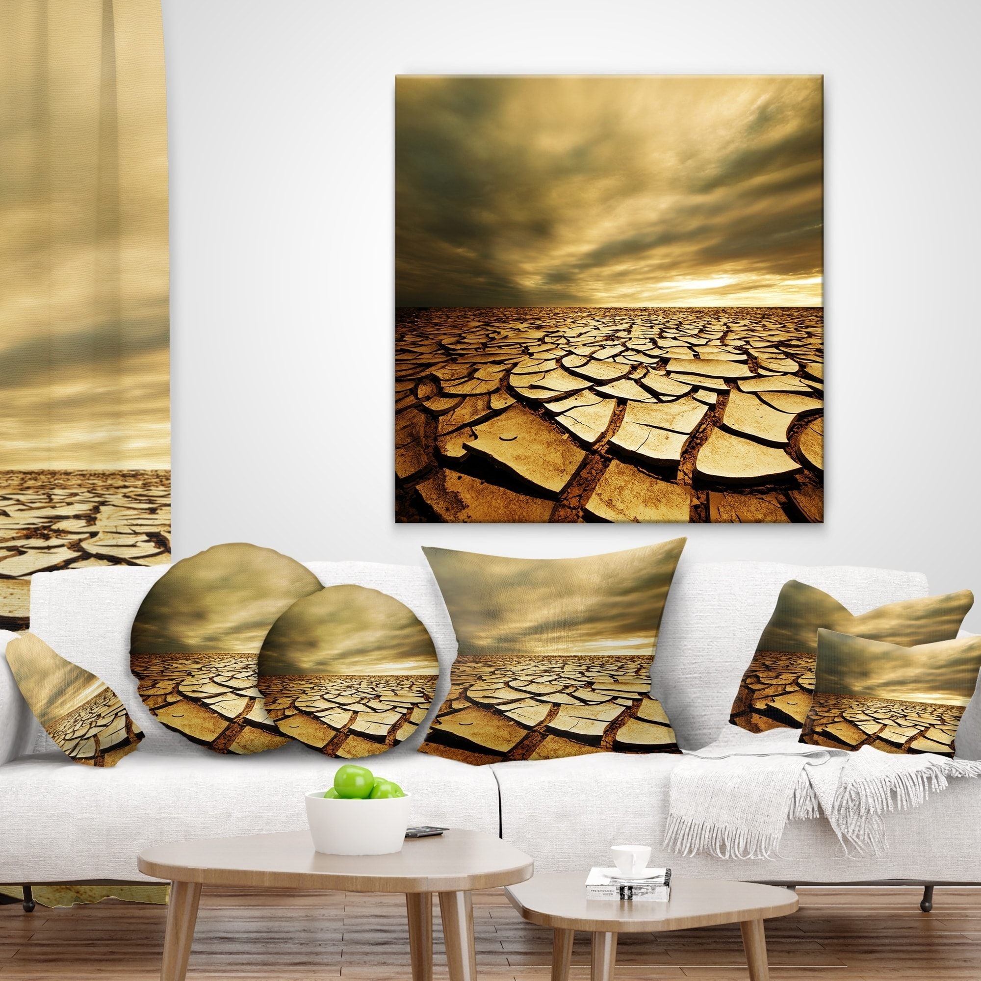 Design Art Designart Broken Drought Land With Dark Clouds African Landscape Printed Throw Pillow Walmart Com Walmart Com