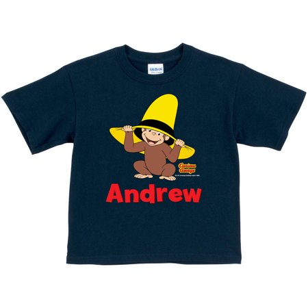 Personalized Curious George Peek-A-Boo Toddler Boy Navy T-Shirt Curious George Tee Shirts