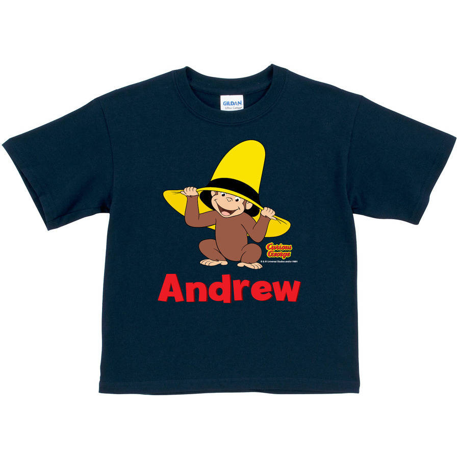 Personalized Curious George Peek-A-Boo Toddler Boy Navy T-Shirt