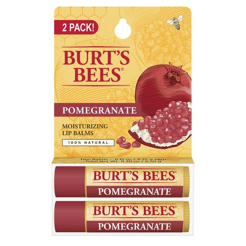 Burt's Bees Moisturizing Lip Balm, Pomegranate, 0.15 oz, (Pack of 2)