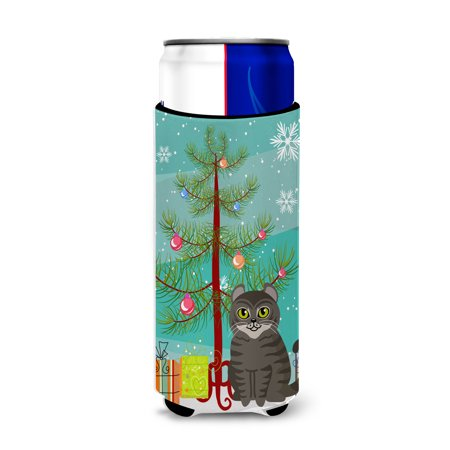 American Curl Cat Merry Christmas Tree Michelob Ultra Hugger for slim cans BB4412MUK