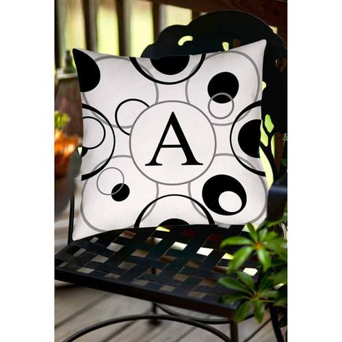 MWW, Inc. Thumbprintz Circle Variations Monogram Black and White Decorative Pillows