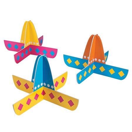Fun Express - Sombreros Foam Centerpiece (3pc) for Cinco de Mayo - Party Decor - General Decor - Centerpieces - Cinco de Mayo - 3 Pieces - Party Sombreros