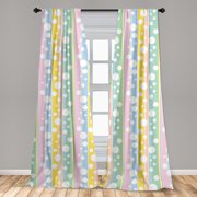"""Abstract Curtains 2 Panels Set, Simplistic Soft Toned Geometric Circles Color Bars Childish Creative Kids Design, Window Drapes for Living Room Bedroom, 56""""W X 63""""L, Multicolor, by Ambesonne"""
