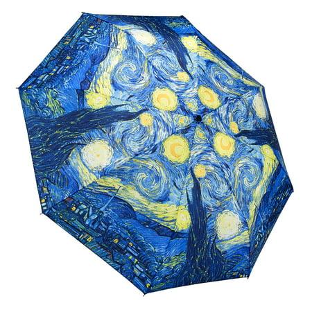Galleria Starry Night Auto Open Close Extra Large Portable Rain Folding Umbrella For Women