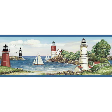 Portfolio Wallpaper - York Wallcoverings 15 ft. Portfolio II Lighthouse/Sailboat Border Wallpaper