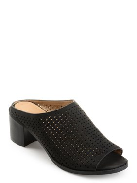 Womens Faux Nubuck Open-toe Perforated Mules
