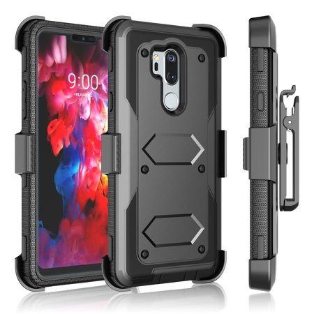 Tekcoo for LG G7 ThinQ / G7+ / G7 / G8 ThinQ / G8 Cases Holster, [Tshell] Shock Absorbing Holster Belt Case w/Stand/Belt Clip + Tempered Glass Screen Protector Carrying (Shock Top Glasses)