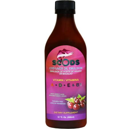 Emulsion de Scods Cereza Cod Liver Oil Emulsion Cherry 200ml Vitamin A + D + E & (Medline Oil Emulsion)