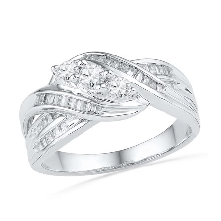 Size - 7 - Solid 10k White Gold Round Baguette White Diamond Engagement Ring OR Fashion Band Channel Set 3 Stone Shaped Ring (1/2 cttw)