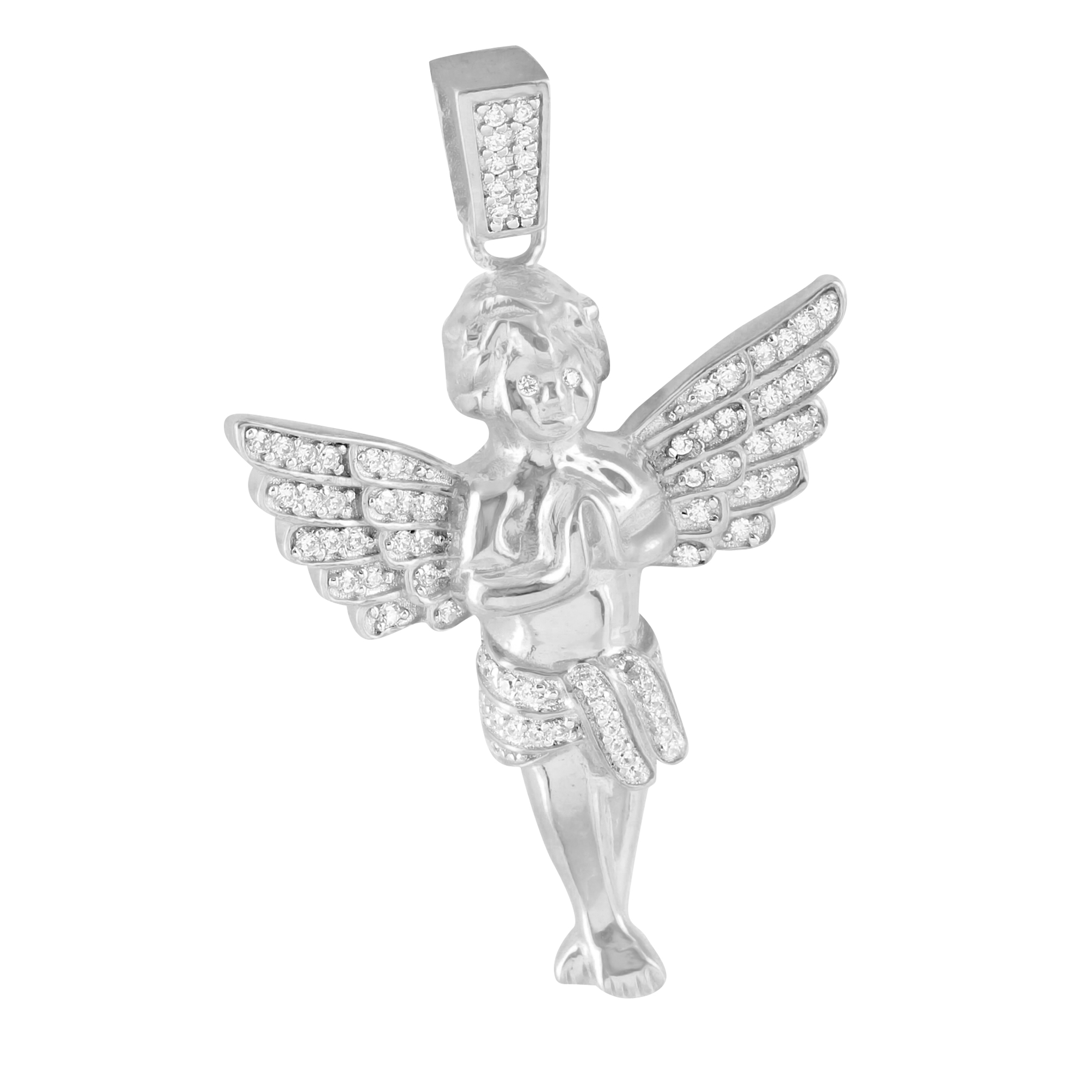 Guardian Praying Angel Pendant 14k White Gold Finish Over 925 Silver Lab Created Cubic Zirconias Hip Hop