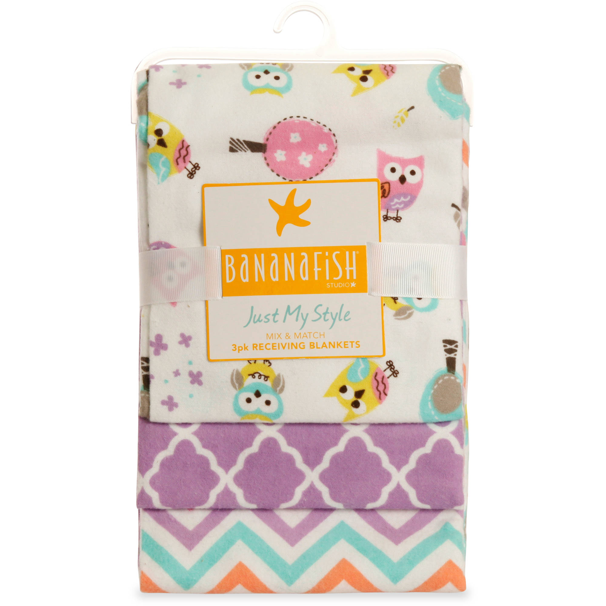 Bananafish Studio Sweet Owl Girl Receiving Blankets, 3pk