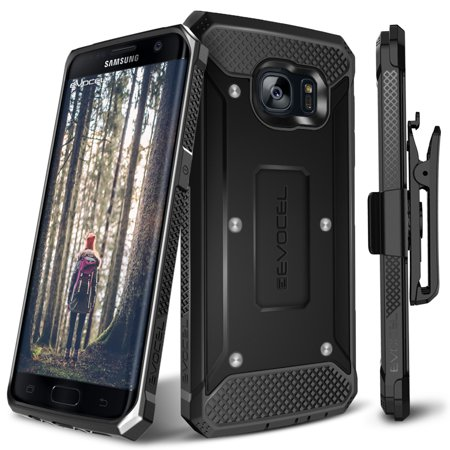 Evocel® Galaxy S7 Edge [Explorer Series] Premium Hybrid Protector [Dual Layer][Belt Swivel Clip] For Samsung Galaxy S7 Edge, Black