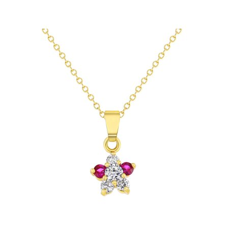 18k Yellow Gold Plated Pink Clear Crystal Flower Girls Pendant Necklace -