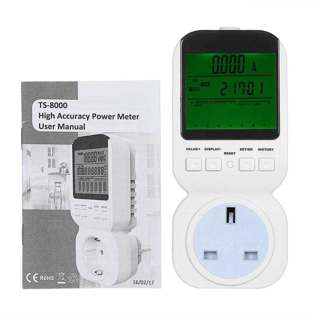 High Accuracy Power Energy Meter Socket LCD Display Watt Voltage Current Frequency Cost Monitor Overload Alarm TS-8000