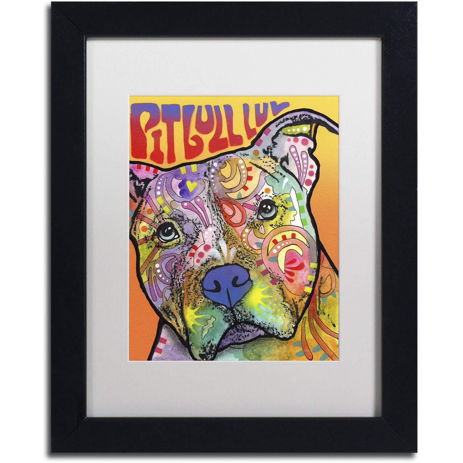 Trademark Fine Art 'Pit Bull Luv' Canvas Art by Dean Russo, White Matte, Black Frame