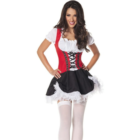 Beer Maiden Red Black Oktoberfest Bar Wench Halloween Costume