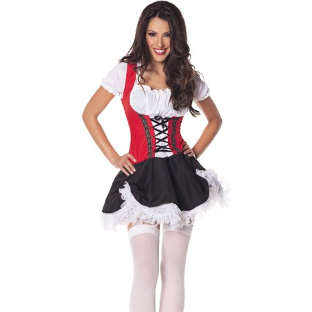 Beer Maiden Red Black Oktoberfest Bar Wench Halloween Costume](Beer Maid Costumes Halloween)