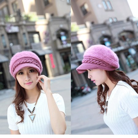 Fall and Winter Lady Thickening Rabbit Hair Knitting Hat - Pink ()