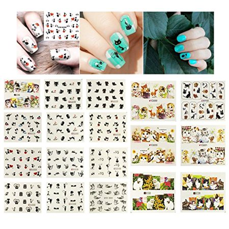 Wrapables® 22 Sheets Cat Lovers Water Slide Nail Art Decals Water Transfer Nail Decals](Halloween Nail Art Cat)
