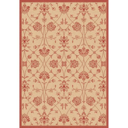 Dynamic Rugs Piazza Parisian Indoor/Outdoor Area Rug - Natural/Red
