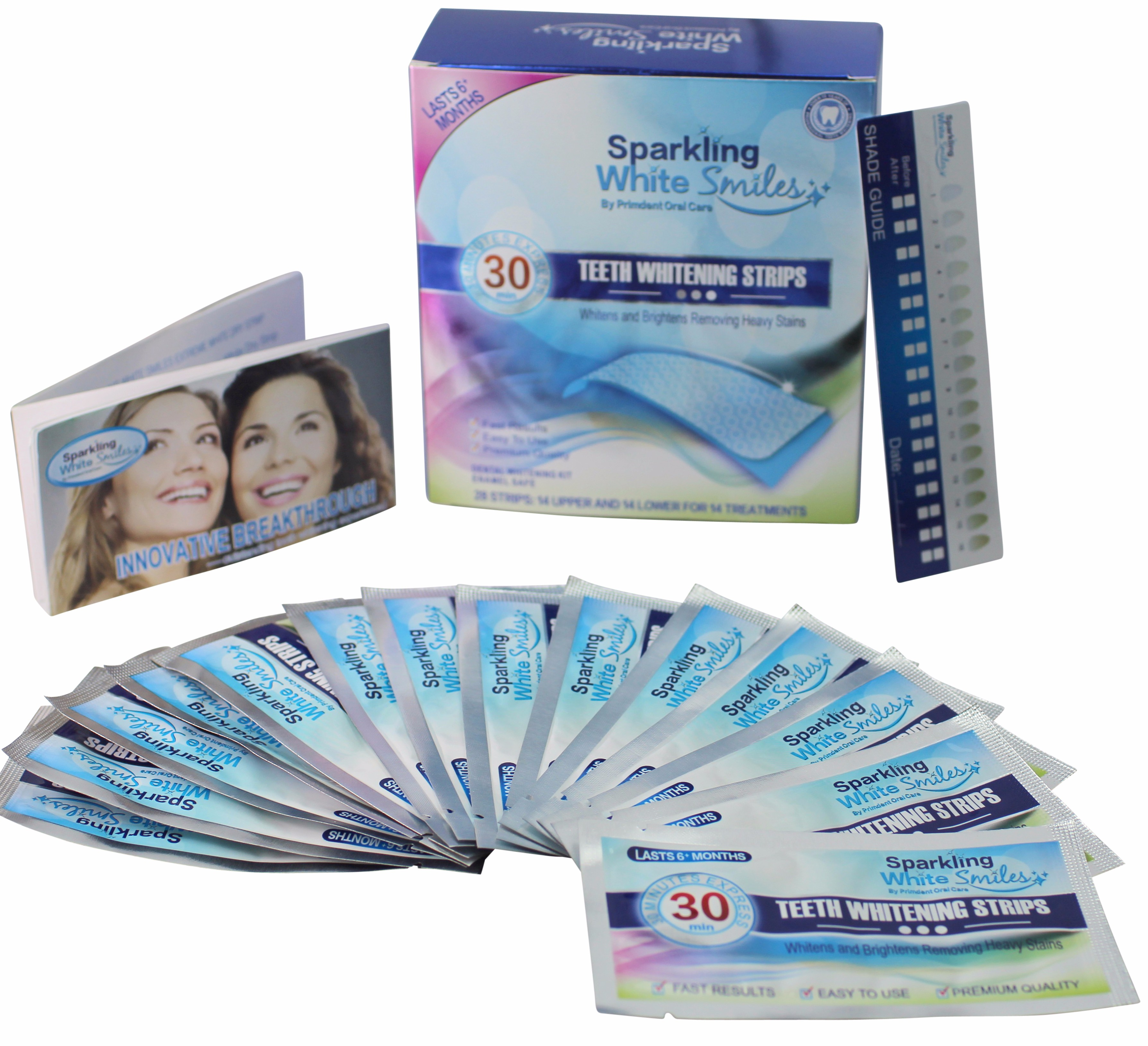 Sparkling White Smiles Professional Teeth Whitening Strips - 28 Teeth White Express Strips - 30 Minute Results - Compare to Big Brands and Save - Removes Years of Stains Fast