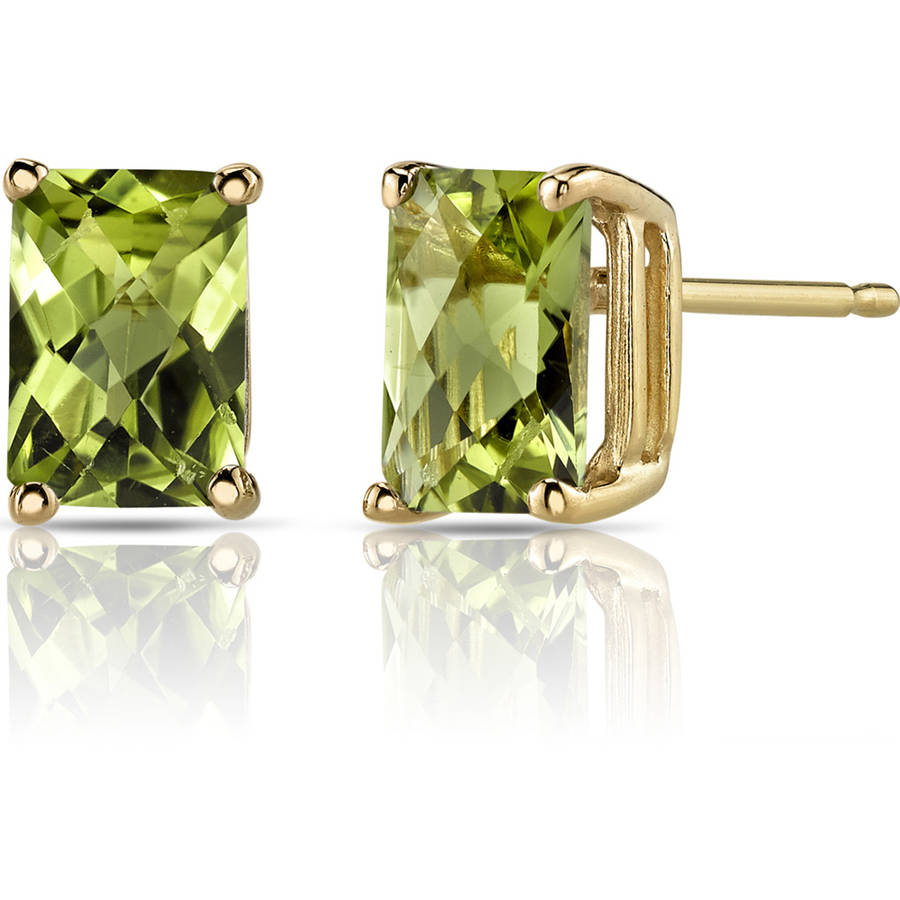 Oravo 2.00 Carat T.G.W. Radiant-Cut Peridot 14kt Yellow Gold Stud Earrings