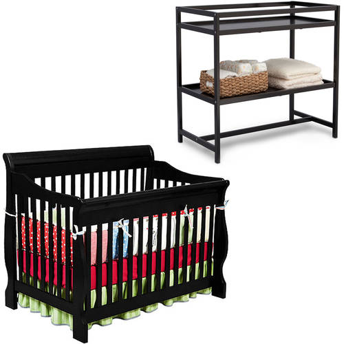Delta Children Canton 4-in-1 Convertible Crib with BONUS Changing Table, Black