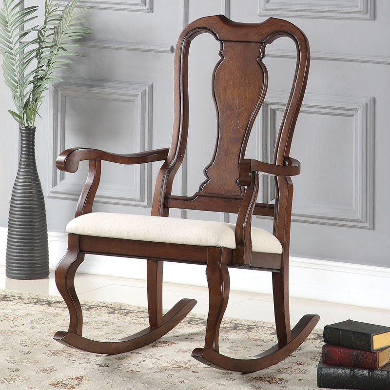 ACME Sheim Rocking Chair, Beige Fabric & Cherry by Acme Furniture