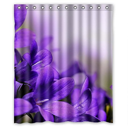 HelloDecor Purple Flower Floral Shower Curtain Polyester Fabric Bathroom Decorative Size 60x72 Inches
