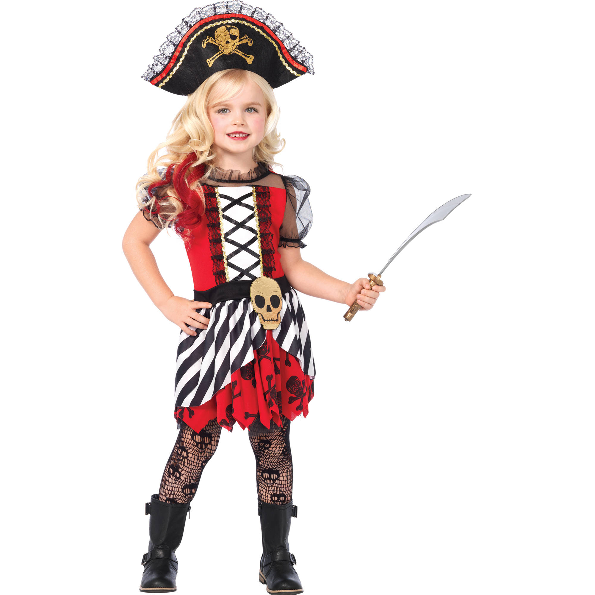 2PC. Girls' Rogue Pirate Dress w  Pirate Hat by Leg Avenue