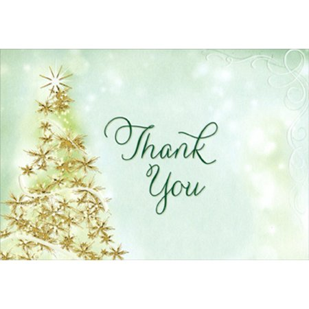 Christmas Thank You Cards.Designer Greetings Sparkling Tree Package Of 8 Christmas Thank You Notes