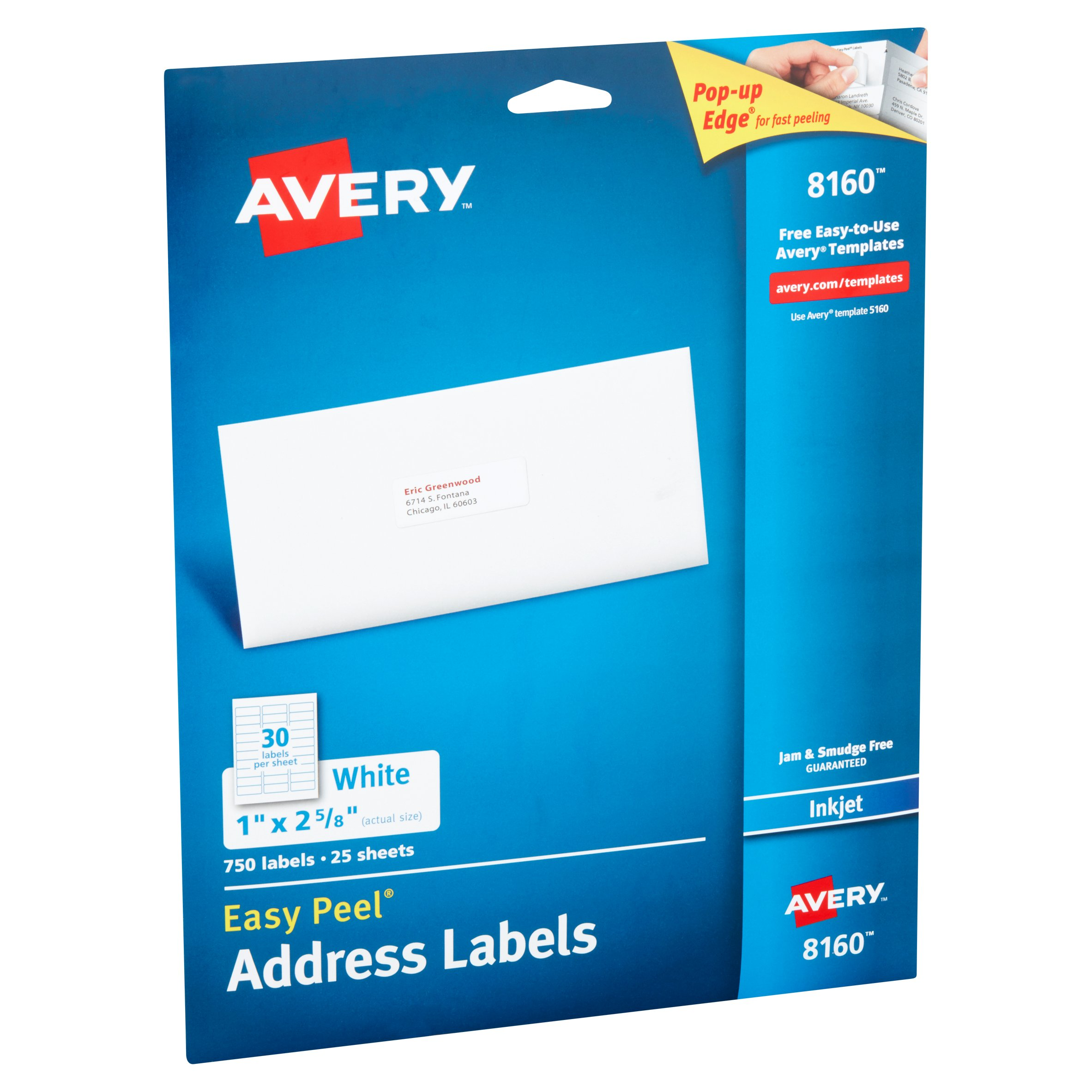 avery 8160 easy peel white inkjet address labels 750 count