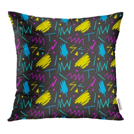 USART Colorful 80S Pattern in Fun Retro Style 1980S 90S Abstract Black Bright Cool Pillow Case Pillow Cover 20x20 inch Throw Pillow - 80s Decorating Style