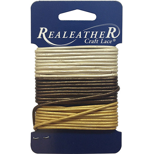 Round Lace 2mmx3 Yards 3/pkg, Gold/Silver/Bronze