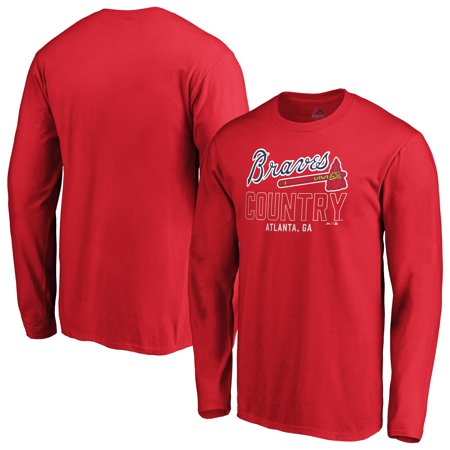 pretty nice 0a8c2 35b74 Atlanta Braves Fanatics Branded Fine Contribution Long Sleeve T-Shirt - Red  - Walmart.com